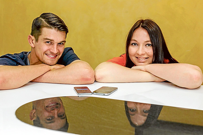 Reuse, reduce: Stephen Halpin and Eleanor Meyer take their recycling app to the world. Picture: Yanni
