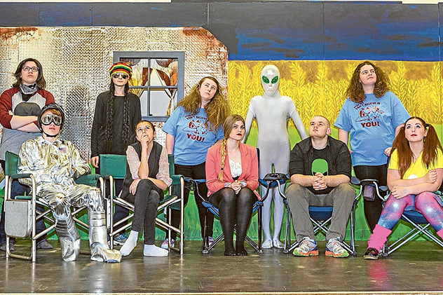 """Looking up: Cast members of the sci fi play """"What's Above"""" during a dress rehersal at Hastings Hall. Picture: Gary Sissons"""