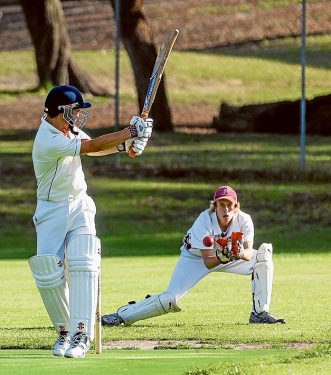 Down to the wire: Ballam Park is just 19 runs from victory against Skye in Sub-District. Picture: Andrew Hurst