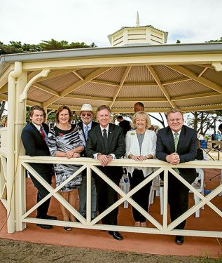 Now open: Cr Andrew Dixon, Australian Unity's Marie Crossland, RSL Heritage Support Committee chair Colin Fisher, Mornington MP David Morris, former mayor Cr Bev Colomb, and MP for Dunkley Bruce Billson.