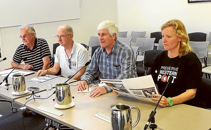 Port call: Preserve Western Port Action Group members at the Port of melbourne inquiry, from left, Graeme Hannigan, Kevin Chambers, Jeff Nottle (chairman) Kate Whittaker (secretary). Picture: Supplied
