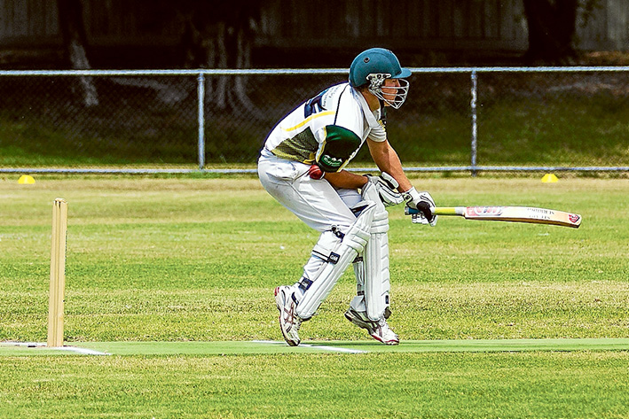 Taking one for the team: Dromana were left battered after being bowled out for just 86. Picture: Andrew Hurst