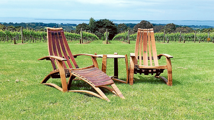 Useable art: Recliner chairs and table made by wine barrel artist Carl Smith.