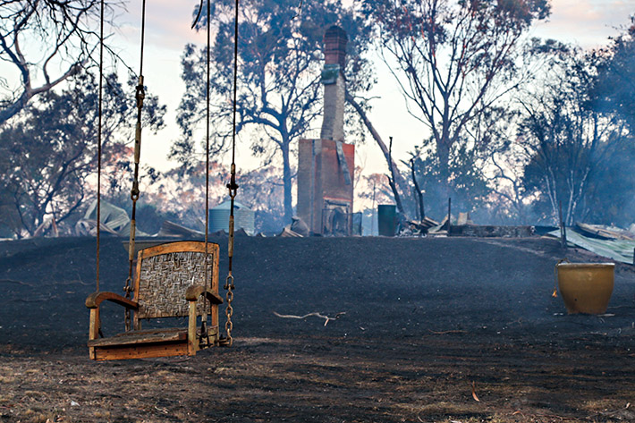 Little remains of The Esplanade, Crib Point, house lost in the 18 January fire. Picture: Gary Sissons