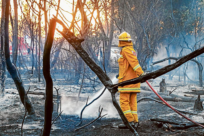 Mopping up: A fireman douses burning embers after a wind change brought relief to Crib Point Monday week. Picture: Gary Sissons