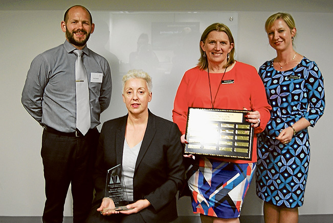 Thanks, volunteers: Kath Neilsen Memorial Award winner Amanda Graham, second from left, with Maurice Blackburn lawyer Travis Fewster, CEO Jackie Galloway and Volunteers & Education general manager Andrea Staunton.