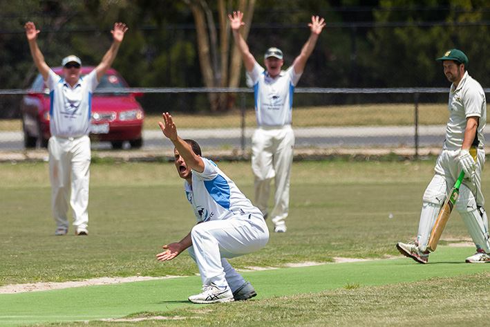 The final hurdle: Langwarrin appeal in their pre-finals win over Moorooduc. Saturday's victory locks them in as finals contenders. Picture: Andrew Hurst