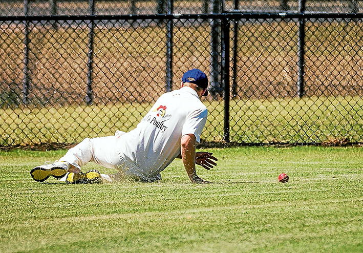 Saved by the rope: A somerville fieldsman saves yet another boundary by Long Island batsmen. Picture: Andrew Hurst