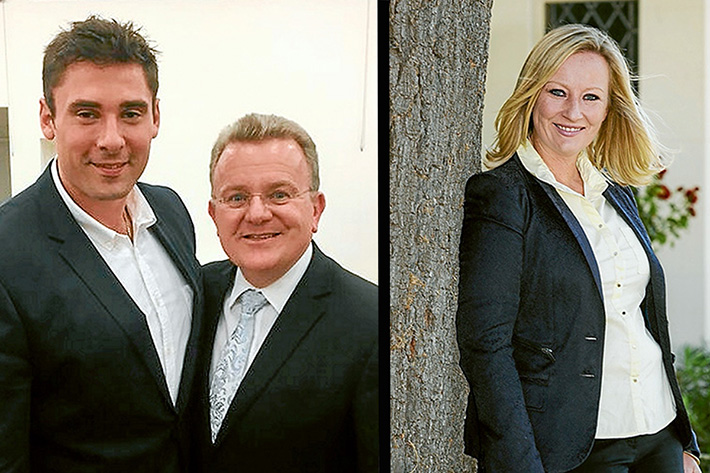 Political ambitions: Kingston councillor Paul Peulich, above left, with Liberal Dunkley MP Bruce Billson and Donna Bauer, right, may face off to become the Liberal Party candidate for Dunkley.