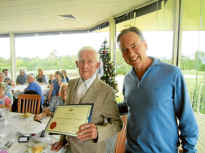 Birthday greetings: Reg Craig, left, with Greg Hunt during a lunch to mark Mr Craig's 100th birthday.