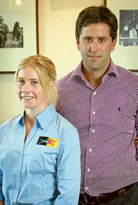 Elite training: Apprentice jockey Mikaela Lawrence, pictured with trainer Sam Pritchard-Gordon, has been inducted into Victoria Racing's elite jockey apprenticeship program.Picture: Racing Victoria