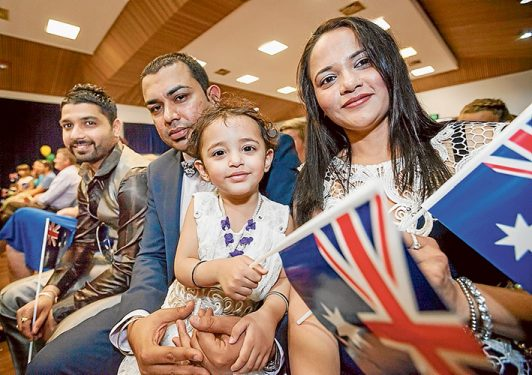 Akashdeep Singh, Amit Kumar, Harjit Kaur and Saanvi Kakkar were among 69 people granted Australian citizenship at a ceremony at Rosebud Memorial Hall by the mayor Cr Graham Pittock. Pictures: Yanni