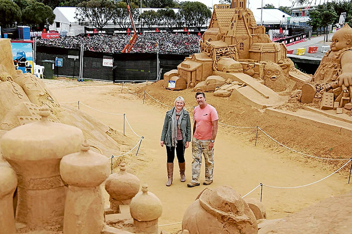 Exhibition success: King and queen of the sand castles Sharon and Peter Redmond's sand sculpting exhibition has drawn thousands of visitors to Frankston each year. Picture: Keith Platt
