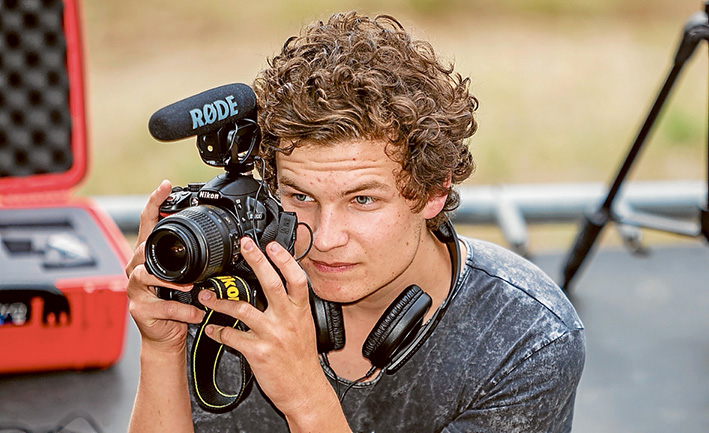 Shooting success: A Mt Eliza business has asked secondary college student Jack Ahern to make a commercial video following a short documentary he filmed and edited about boxer Ron Smith. Picture: Yanni