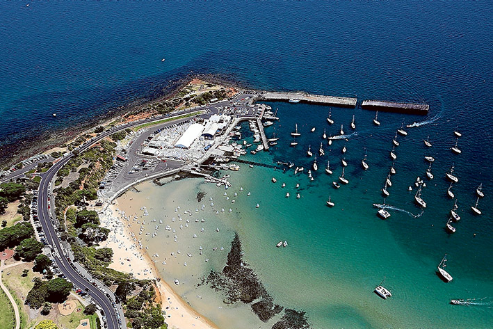 On high: Mornington Yacht Club, and the filled land it sits on, present a striking sight from the air.