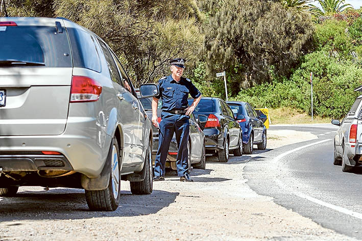 Inherent dangers: Senior Sergeant Brett Coloe is concerned about pedestrian safety at The Esplanade, Mt Martha, hotspot. Picture: Yanni