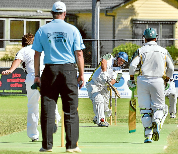 Collapse: Carrum Downs has already lost its match against top of the table Dromana after they were rolled in 36 overs for just 48 runs. Picture: Rab Siddhi