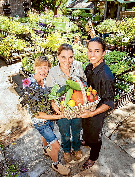 Prized produce: Robyn Schuurman, Robyn Fox and Brayden Logan – Gusti with a basketful of some of Heronswood's current crop. Picture: Yanni