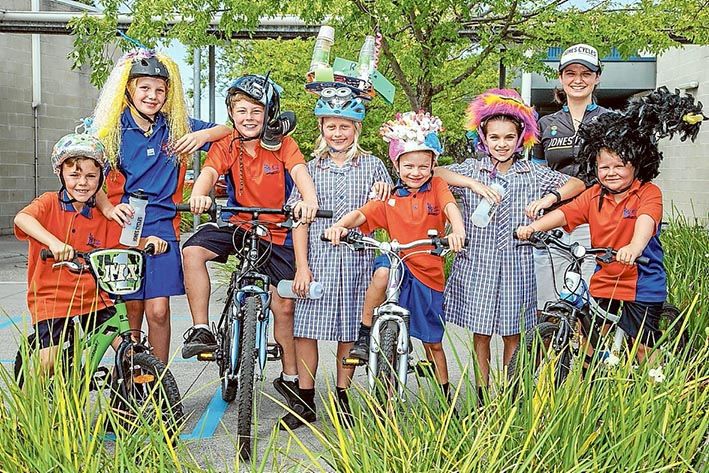 Two-wheel freedom: Benton Junior College pupils made the most of Ride 2 School Day last week. Here, Oliver, Lucy, Liam, Sienna, Tui, Sara, Adele Jones (coordinator) and Tane make the most of the fun. Picture: Gary Sissons
