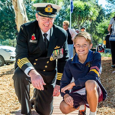 HMAS Cerberus Captain Stephen Bowater, OAM, with the school's captain Brenton Twaites. Picture: Gary Sissons