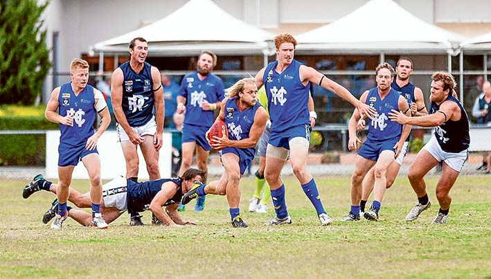On the run: Hastings dished out a thrashing to Rosebud, winning by more than 100 points. Picture: Andrew Hurst
