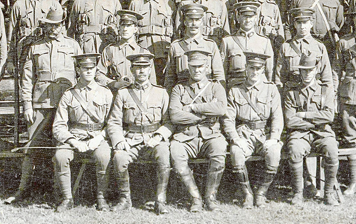 Officers and NCO's of the 7th Infantry Battalion HQ with Pompey Elliott seated in the centre.