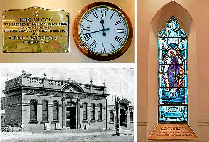 Top: The memorial clock, now in the Mornington Library. Bottom: The clock in its original location, the Mechanics Institute. Right: The stained glass window in St Peter's Church, Mornington.
