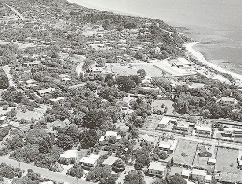 Growing days: Part of Ranelagh Estate from the air in the 1970s shows new houses and the Ranelagh Club above the beach. Picture supplied