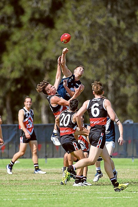Eagles fly high: After trailing by nine points at half time, Edithvale booted five goals to one in the third term to set up the win in their Easter clash. Picture: Scott Memery
