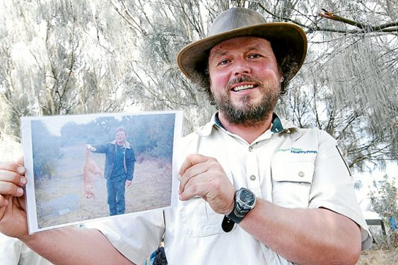 Wild catch: In February 2013 French Island National Park ranger Dave Stevenson, above, showed The News a photograph of a 5.5-kilogram cat, one of 700 ferals he said were caught over the previous three years. The cats were killing native animals and were blamed for the failure of a program to introduce bandicoots to the island. Below, a map showing where KFC-baited traps were set for cats in 2015. The take away food is used because of its longevity.