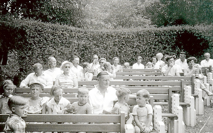Sunday service: Hymns are sung by families at the Crosby Memorial Chapel, Camp Manyung, Mt Eliza, in the 1950s.