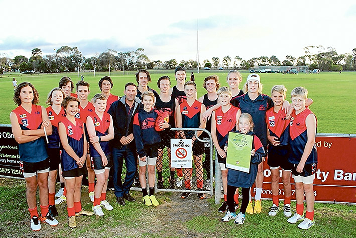 Smokes ban: Mt Eliza junior footballers will benefit from strict no-smoking rules.