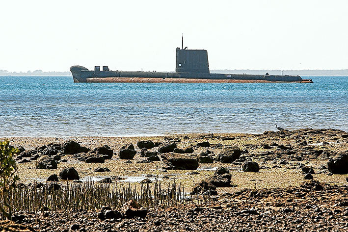 Tied up: The fate of the submarine Otama lying off Crib Point depends on $50,000 being found to repair its moorings. Alternatively, it could be towed away for scrap.                  Picture: Gary Sissons