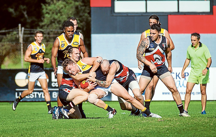Shark net: Bonbeach couldn't contain Frankston YCW who ran out 114 point winners. Picture: Andrew Hurst