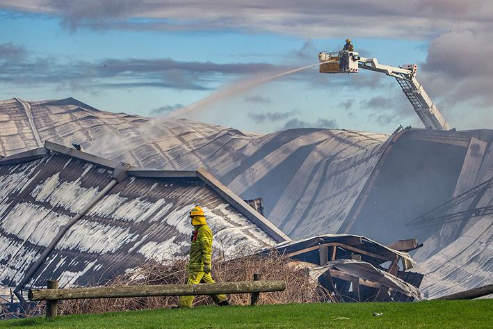 Somerville Stadium Fire -1st May 2016. Photo: CFA working around the Stadium.