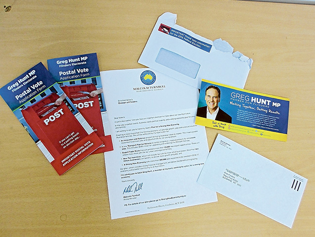 Going postal: Correspondence from Flinders Liberal MP Greg Hunt includes a postal vote application form that can be used to obtain personal information about voters for political party files.