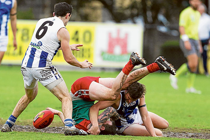 Kangas kick themselves out: Despite having five more scoring shots than Pines, Langwarrin still went down by five points.  Picture: Scott Memery
