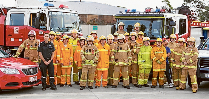 """Show of unity: Mornington Fire Brigade crews ready to """"do what we are here for""""."""