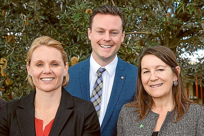Political players: Labor's Peta Murphy, left, the Liberals' Chris Crewther and the Greens' Jeanette Swain lead the field of 11 contesting the seat of Dunkley at this year's federal election. Picture: Gary Sissons