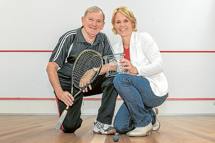 Hall of fame: Squash champ Allen Minchinson with Squash and Racketball Victoria president Peta Murphy and his life membership award. Picture: Gary Sissons