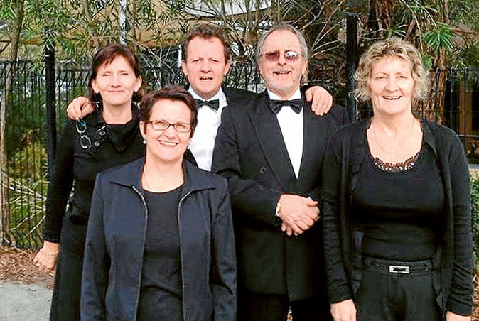 In tune: Wearne family singers Marcelle, Brenda, Larry, Peter and Heather prepare for the New York trip.