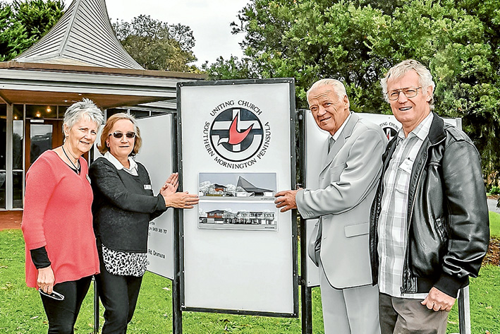Mission accomplished: Uniting Church and Community Bank director Jan Hall, campaigners Marie Hell and Kevin Turner, and the Rev Chris Meneilly. Picture: Barry Irving