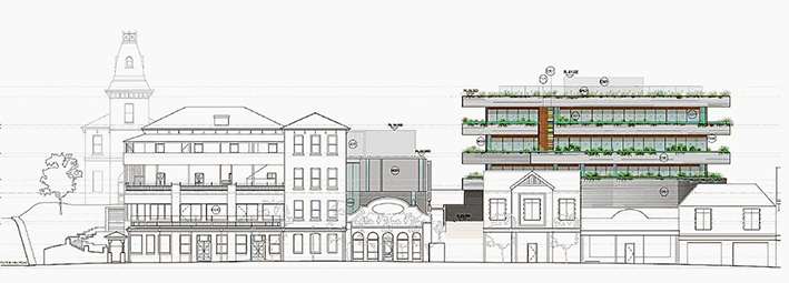 Artist's impression: A sketch by Nepean Historical Society member Gary Naughton of how the redeveloped Continental Hotel could appear.