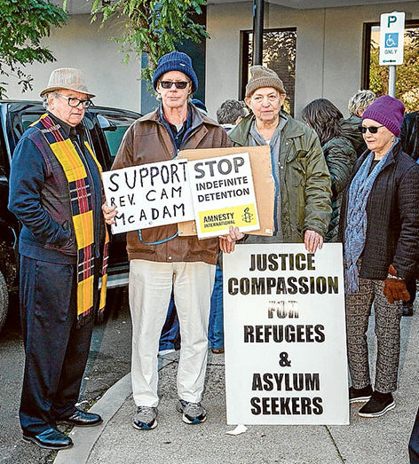 Outside support: Protesters outside Frankston Magistrates Court as the seven defendants inside explained their protest to the magistrate. Picture: Gary Sissons