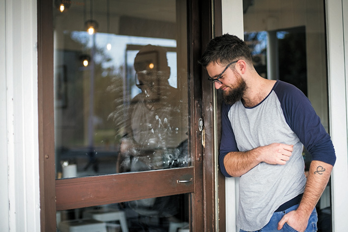 Damage done: McCrae cafe proprietor Sam Keck assesses repairs to the popular cafe. Picture: Jarryd Bravo