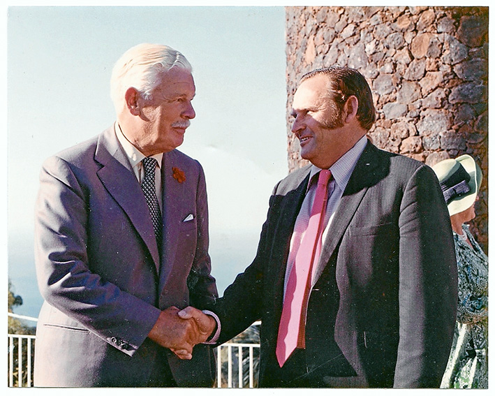 Peak moment: Ken Spunner, right, and the Governor of Victoria Sir Rohan Delacombe at Arthurs Seat in March 1974 for the bicentenary of explorer Matthew Flinders' birth. Flinders landed at Dromana in 1802 and scaled Arthurs Seat during his circumnavigation of Australia. Picture supplied