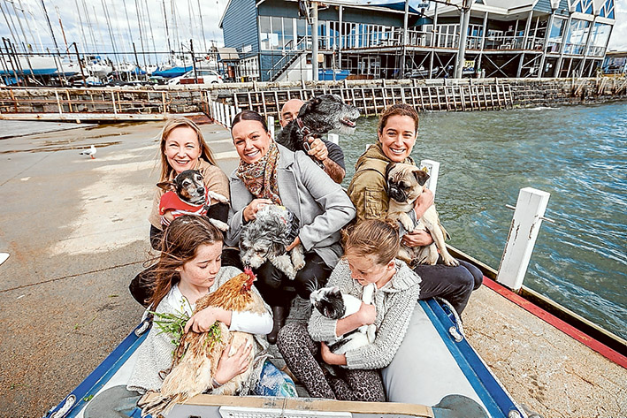 Woof, woof: Michelle Levenspiel with Bowser, Jo Brady with Ernie, Whittney Stone with Olive, (rear) Kevin Wilcox with Brogan, (front) Gracie Lynch with Snowy the chicken and Cecillia Lynch with Dot the cat. Picture: Yanni