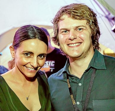 Chance meeting: Andrew Dixon, right, with actress Pia Miranda at this year's Peninsula Short Film Festival, Rosebud. Picture: Yanni