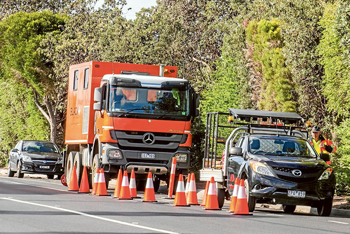 Testing, testing: Work crews testing soils and water levels between Edithvale and Aspendale along the Frankston line this month as part of the level crossings removal project. Picture: Gary Sissons