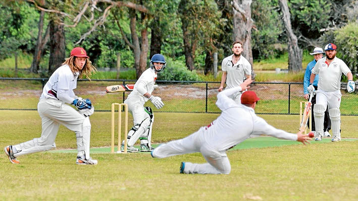 All eyes on the prize: Attention is focused on one Skye fieldsman as he reaches out for a passing ball. Skye are struggling in their Sub District match against Ballam Park. Picture: Rab Siddhi